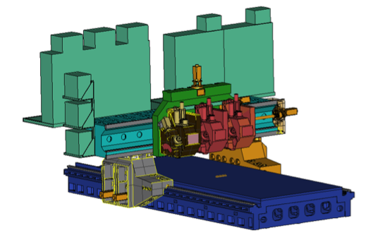 Figure 3. Multibody model of a five axes machine tool with multiple spindles